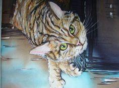 peinture sur soie chat