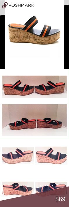 "Lady Godiva Rasolli Wedge Sandal Lady Godiva Rasolli coral and black elastic wedge sandal.  Size 8 medium.  New with box.  Lightly padded synthetic insole.  Cork sole.  3"" heel. 1.5"" platform.  No trades. Lady Godiva Shoes Sandals"