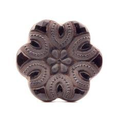 Large 32mm antique vintage Victorian Czech faux rhinestone flower faceted black glass button 0121-109