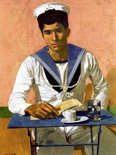 G. Tsarouxis .[Sailor Men Oil On Canvas]