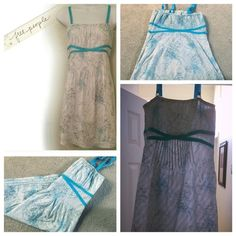 Free People dress/tunic 4 Stunning Free People mini dress or tunic with side zipper and adjustable straps. The dress is baby blue with bursts of aqua blue. 100% cotton and an elastic back. There is some minor snagging toward the bottom, but you'd have to look for it Free People Dresses