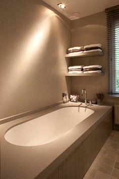 idea for shelving for the towels. House, House Bathroom, Bathroom Interior Design, Bathroom Renos, Country Bathroom, Modern Country Bathrooms, Home Deco, Beautiful Bathrooms, Bathroom Renovation