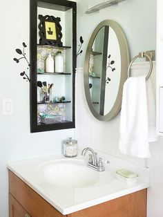 Recessed shelves on either side of medicine cabinet/mirror (upstairs bathroom). Bathroom Makeovers on a Budget Bathroom Makeovers On A Budget, Budget Bathroom, Bathroom Ideas, Bath Ideas, Bathroom Inspiration, Bathroom Things, Bathroom Stuff, Design Bathroom, Recessed Shelves