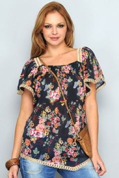 blusas estampadas de moda Modelos Fashion, Moda Chic, Fashion Over 40, Pulls, Fashion Outfits, Womens Fashion, Floral Tops, Ideias Fashion, Plus Size