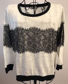 Womens EYESHADOW Large Ivory Black Sweatshirt Lace Stripe 3/4 Sleeves Floral Top #Eyeshadow #KnitTop