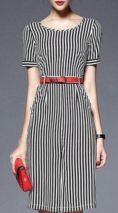 Trendy Short Sleeves Scoop Neck Stripe Print Dress For Women Stylish Dresses, Casual Dresses, Fashion Dresses, Style Hijab Simple, Best Prom Dresses, Stripped Dress, Mode Hijab, Sammy Dress, Dress To Impress
