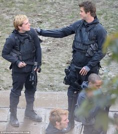 We're all friends here: They may play love rivals Peeta and Gale, but Josh and Liam were p...