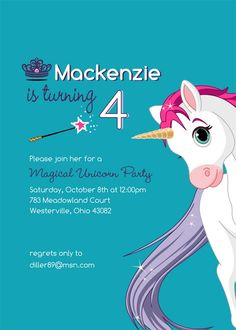 Invitation Idea Unicorn Birthday Parties Party 4th Ideas