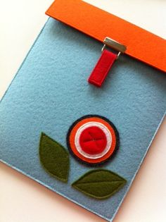 READY TO SHIP--Sale-- Ipad Case Bloom Collection in Blue--Orange flap No.4. $50,00, via Etsy.