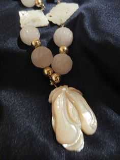 Vintage Chinese Hand Carved Quartz Mother of Pearl Gold Toned Beads Necklace | eBay