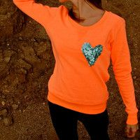 "The ""Dazzle Pocket"" Sweatshirt -  w/Heart Chest Pocket"
