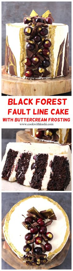 Black Forest Fault Line Cake With Buttercream Frosting is a rich and classic cake, where moist and delicious chocolate layers are combined with fresh cherries, and rich, silky smooth and melt in mouth frosting. Delicious Cake Recipes, Best Dessert Recipes, Cupcake Recipes, Yummy Cakes, Easy Desserts, Baking Recipes, Sweet Recipes, Cupcake Cakes, Valentine Desserts