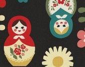 Matryoshka Babushka Fabric in Black by Kokka Japan Fabrics - 1 Yard