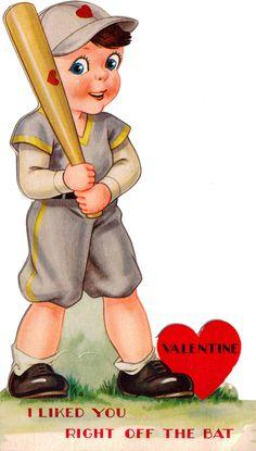 "vintage baseball valentine ""right off the bat"" My Funny Valentine, Valentine Images, Vintage Valentine Cards, Valentines For Boys, Valentine Day Love, Vintage Greeting Cards, Vintage Holiday, Valentine Day Cards, Valentine Hearts"