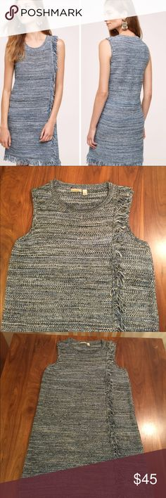 """Anthropologie Holding Horses Fringed Sweater Dress Shades of blue Tweed with fringe trim. Sleeveless with crew neck. 17"""" across bust. 34"""" length. Excellent condition. Anthropologie Dresses"""