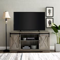 Gray Wash Farmhouse Sliding Barn Door TV Stand Console | Pier 1 Imports