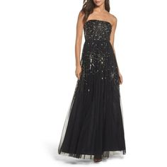 Women's Adrianna Papell Embellished Strapless Mesh Gown (22,630 INR) ❤ liked on Polyvore featuring dresses, gowns, black, strapless gown, sequined dress, sequin evening gowns, fancy dresses and sequin ball gown