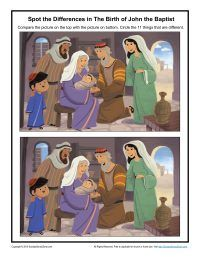 The Birth of John the Baptist Spot the Differences - Children's Bible Activities   Sunday School Activities for Kids