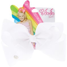 JoJo Siwa Large White Signature Hair Bow | Claire's ($35) ❤ liked on Polyvore featuring accessories, hair accessories, white hair bow, white hair accessories and bow hair accessories
