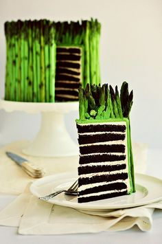 Fondant asparagus cake...OMG!!!!!  Love the chocolate layers!
