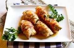 Chicken rolls with spinache.