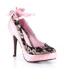 BP410-MISSY Women Lace Pump Floral Detail Ankle Strap Closed Toe - Pink