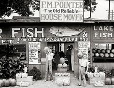 Old Alabama photography. Roadside stand near Birmingham, Alabama, year 1936.By Walker Evans.Vintage photo art print.