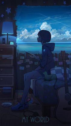 Anime Backgrounds Wallpapers, Anime Scenery Wallpaper, Animes Wallpapers, Sky Anime, Dark Anime, Anime Girl Cute, Anime Art Girl, Anime Neko, Kawaii Anime