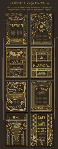 Art Nouveau design example for graphic projects - artists