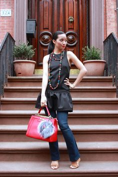 H&M Top, Vintage, Forever 21, Aldo Purse, Fendi Monster Puff, Spring Fashion, Spring Outfit