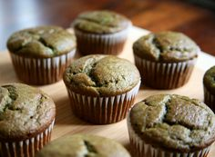 Banana Smoothie Muffins - made with pureed banana, spinach, and strawberries!  (reduce sugar)