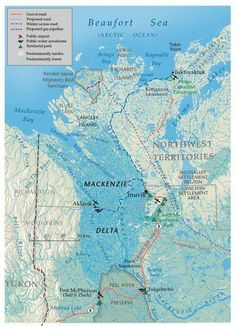 """Proposed route of the Mackenzie Valley Pipeline. This project was once called the """"biggest project in the history of free enterprise."""" While the initial plan to create the pipeline met significant opposition in the 1970s, a consortium of aboriginal and multi-national corporations has recently revived the pipeline proposal. They face continued impact review processes, rapid changes in local marine and terrestrial environments, and volatile global energy markets."""