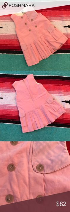 Authentic Burberry Baby Toddler Dress 12 mo Authentic Burberry Baby Dress. Pink pleated corduroy dress with pockets and buttons. Size 12 months. Burberry Dresses