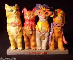 """4 CATS in MARDI GRAS Costumes Figures New Orleans PRINTS OF TAILS 4"""" tall Resin sold $8.00"""