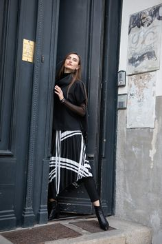 Pleated striped designer assymetrical skirt with jersey waistband. For the perfect fall fashion woman outfit. By ART POINT brand #fashiondiscovery #Art_point #Skirt #fashion #style #skirts_outfits #fall_skirts #striped_skirts #asymmetrical_skirts #skirts_fashion #designer_skirts #skirt_styles #assymetrical_skirt #winter_skirt #flowy_skirt #casual_skirt_outfits #womens_skirt #stripped_skirts_outfit #fall_skirt_outfits
