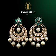 Shining brighter than the moon, these crescent earrings reflect everlasting beauty and grace. #Hazoorilal #Jewelry #Earrings #Chandbalas