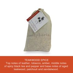 Scentphoria Potpourri Sachet in Teakwood Spice. Vegan, Cruelty Free, Sulfate Free and Paraben Free. Hand made in the USA.