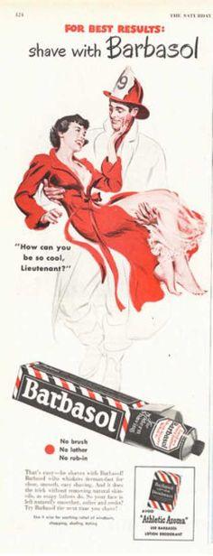 Barbasol Fireman Rescue Pretty Woman Art (1949)