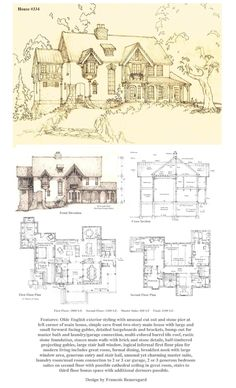 Front Elevation, first and second floor plans. Description of this home on the plan. Technique: These three drawings are on one 8 and a half by 11 inch . House A Tudor/Storybook Luxury Home D House, Maine House, The Plan, How To Plan, Sims, English Tudor, English House, Vintage House Plans, Front Elevation