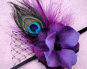 Flower Headband, Deep Purple Peacock