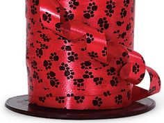 Red with Black Paw Print Curling Ribbon - 7/16' X 250 Yd Cut * Want to know more, click on the image.