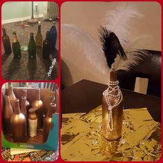 My roaring centerpieces! Wine bottles, spray paint, glitter, pearls and feathers! Roaring 20s Party, 1920s Party, Great Gatsby Party, 1920s Wedding, Roaring Twenties, Party Wedding, Wedding Ideas, 40th Birthday Parties, Casino Theme Parties