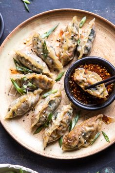 Homemade Vegetable Potstickers with Toasted Sesame Honey Soy Sauce   halfbakedharvest.com #vegan #recipes #healthy #homemade