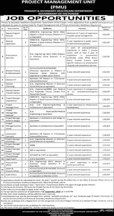 Jobs in Govt. of Punjab (Primary & Secondary Healthcare Department)