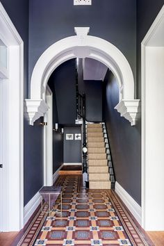 Barcom terrace: a heritage architecture with contemporary interior and deco Hall Tiles, Tiled Hallway, Dark Hallway, Hallway Flooring, Entry Hallway, Modern Hallway, Flooring Tiles, Hallway Paint Colors, Best Paint Colors