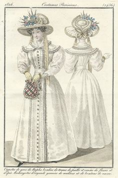 Regency Era, Old Magazines, Period Costumes, Antique Prints, Fashion Plates, Hand Coloring, Dame, Collars, Carnival