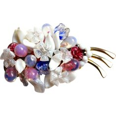 C. 1940 French Louis Rousselet art glass poured glass wired floral brooch pin