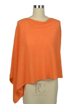 100% Cashmere Poncho Dress Topper. Wear it 4 ways. Choose from over 50 colors. Color Mango.