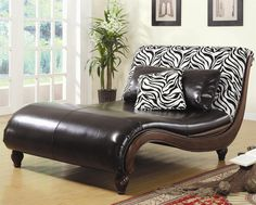 Zebra Animal Print Chaise Lounge by Coaster - 550061