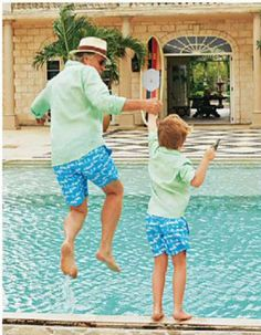 Tommy Hilfiger and his son wearing matching Pistachio green linen shirts and Going to the Beach trunks. Both available on our website now  http://www.pinkhousemustique.com/collections/mens-shirts/products/mens-shirt-long-plain-pistachio-green  http://www.pinkhousemustique.com/collections/mens-trunks/products/mens-going-to-the-beach-blue-white